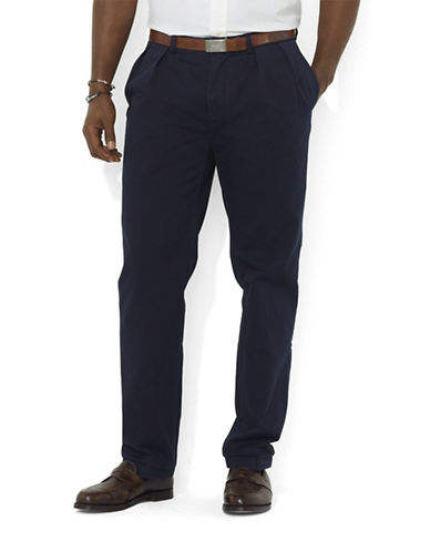 Polo Ralph Lauren Big and Tall Classic-Fit Pleated Chino Pant-AVIATOR NAVY-56X30