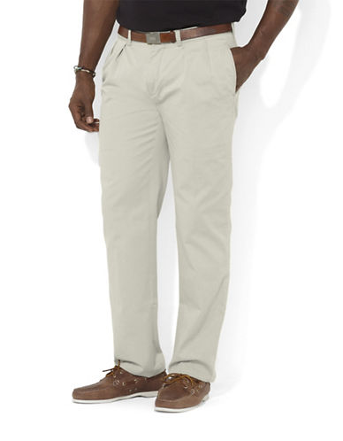 Polo Ralph Lauren Big and Tall Classic-Fit Pleated Chino Pant-CLASSIC STONE-48X34