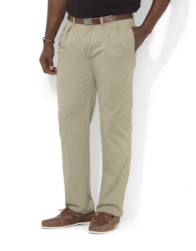 Polo Ralph Lauren Big and Tall Classic-Fit Pleated Chino Pant-HUDSON TAN-42X34