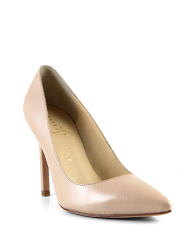 Ivanka Trump Carra Point Toe Leather Pumps-NUDE PINK-9.5