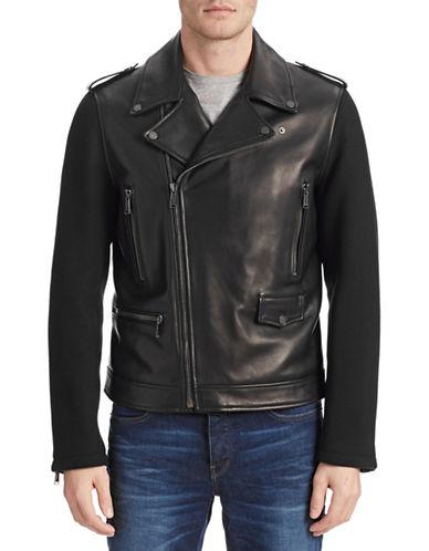 Kent & Curwen Leather Combo Biker Jacket-BLACK-Medium 87853720_BLACK_Medium