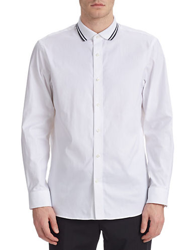 Kent & Curwen Tailored Knit Collar Shirt-WHITE-Small