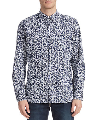 Kent & Curwen Floral Layer Sport Shirt-NAVY-Small