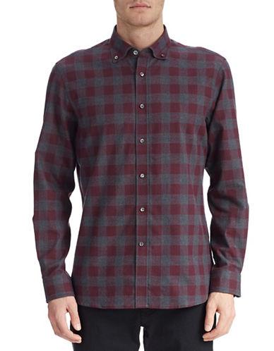 Kent & Curwen Gingham Flannel Button Shirt-OXBLOOD-Medium