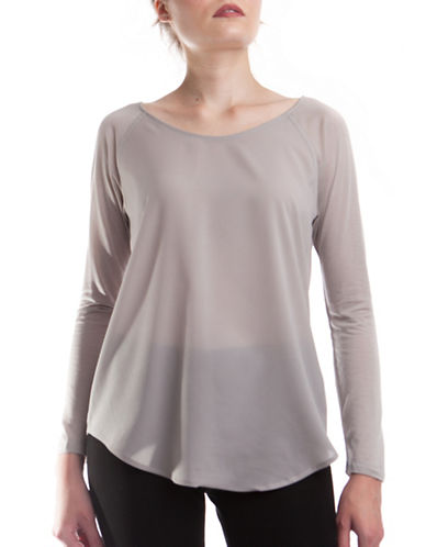 French Connection Classic Polly Plains Top-GREY-Medium
