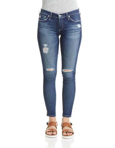 Ag Jeans Destructed Ankle Jeggings-BLUE-27