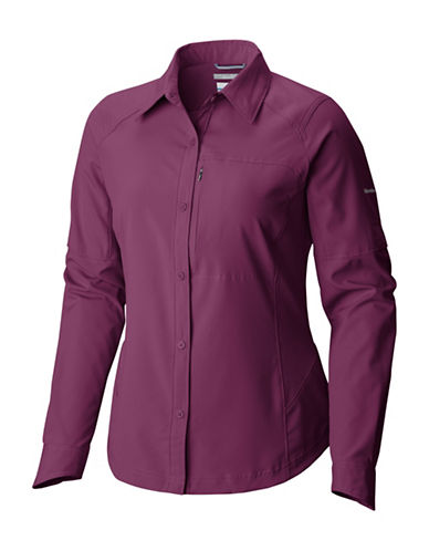 Columbia Plus Silver Ridge Button-Up Shirt-PURPLE-2X