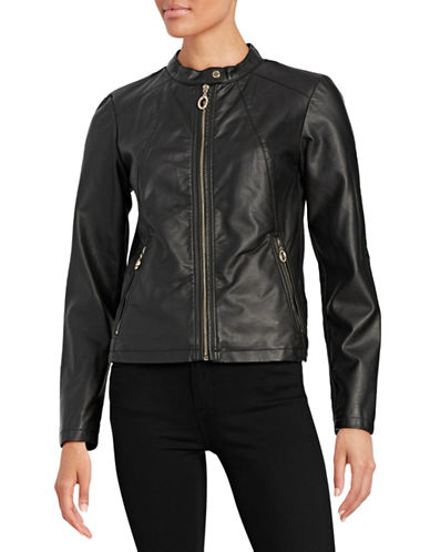 Ivanka Trump Moto Jacket with Knit Contrast-BLACK-Large