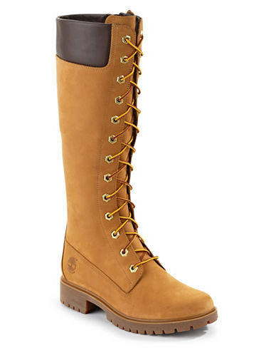 Timberland Tall Side Zip Lace-Up Boots-WHEAT-9