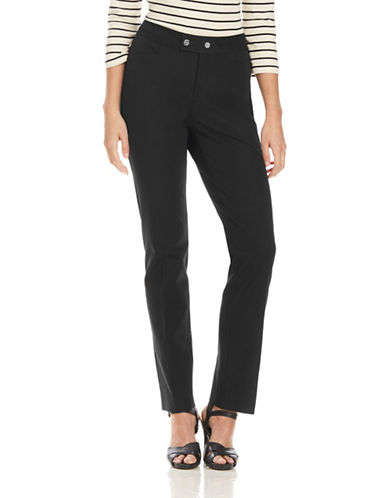 Chaps Petite Button Tab Straight Leg Pants-BLACK-Petite 14