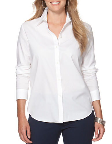 Chaps Plus Cotton Shirt-WHITE-2X