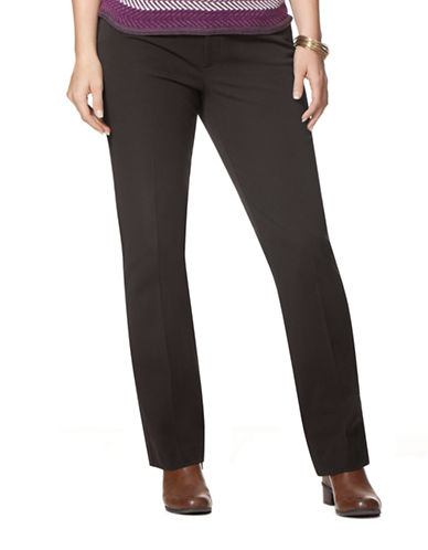 Chaps Plus Stretch Straight Leg Pants-BLACK-18W