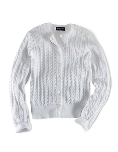 Ralph Lauren Childrenswear Long Sleeve Cotton Cardigan Sweater with Pony Player-WHITE-4T