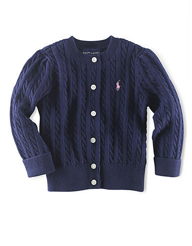 Ralph Lauren Childrenswear Long Sleeve Cotton Cardigan Sweater With Pony Player-NAVY-Small