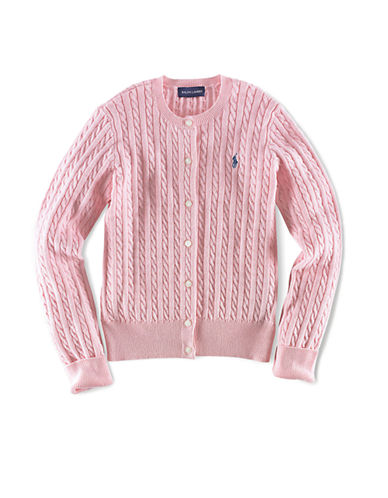 Ralph Lauren Childrenswear Long Sleeve Cotton Cardigan Sweater with Pony Player-PINK-6X