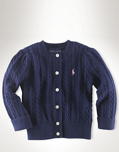 Ralph Lauren Childrenswear Long Sleeve Cotton Cardigan Sweater with Pony Player-BLUE-6X