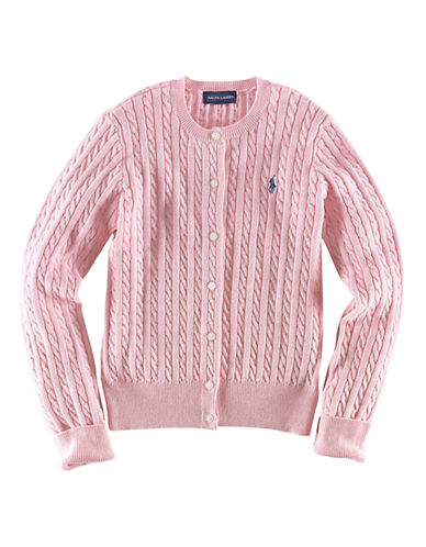Ralph Lauren Childrenswear Long Sleeve Cotton Cardigan Sweater With Pony Player-PINK-Large