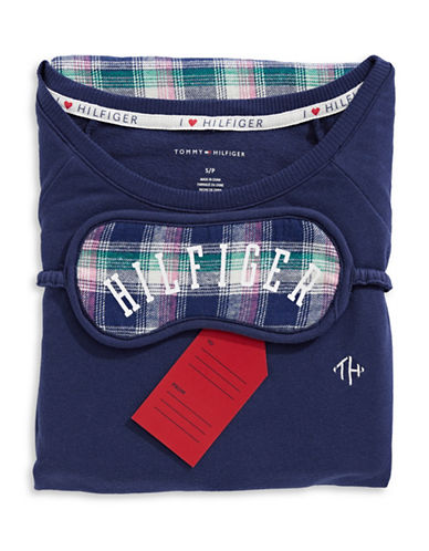 Tommy Hilfiger Plaid Pyjamas with Sleep Mask-NAVY-Large