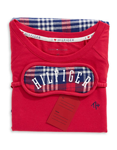 Tommy Hilfiger Plaid Pyjamas with Sleep Mask-RED-Large