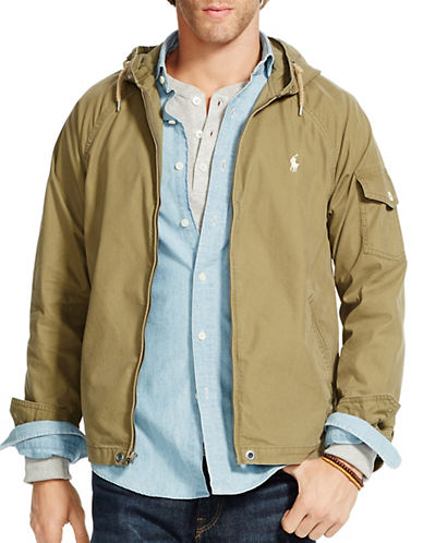 Polo Ralph Lauren Hooded Windbreaker-OLIVE-Large