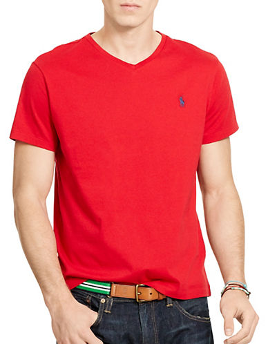 Polo Ralph Lauren Medium Fit Short Sleeved Cotton Jersey V Neck-RL2000 RED-Large