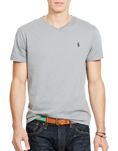 Polo Ralph Lauren Medium Fit Short Sleeved Cotton Jersey V Neck-MUSEUM GREY-Medium 86710462_MUSEUM GREY_Medium