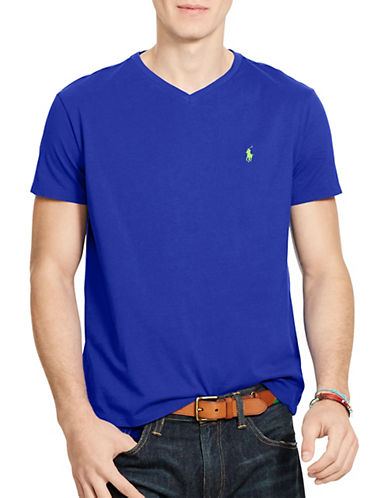 Polo Ralph Lauren Medium Fit Short Sleeved Cotton Jersey V Neck-PACIFIC ROYAL-Medium