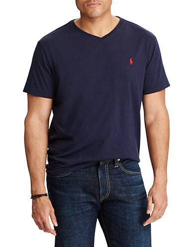 Polo Ralph Lauren Big and Tall Jersey V-Neck T-Shirt-INK-1X Tall