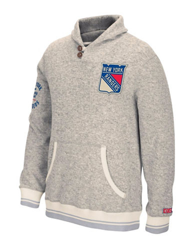 Reebok New York Rangers CCM Popover Sweater-LIGHT GREY-Medium