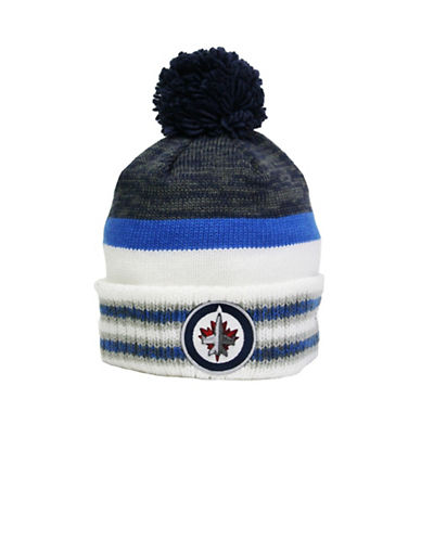 Reebok Winnipeg Jets Centre Ice Team Pom-Pom Knit Tuque-WHITE-One Size