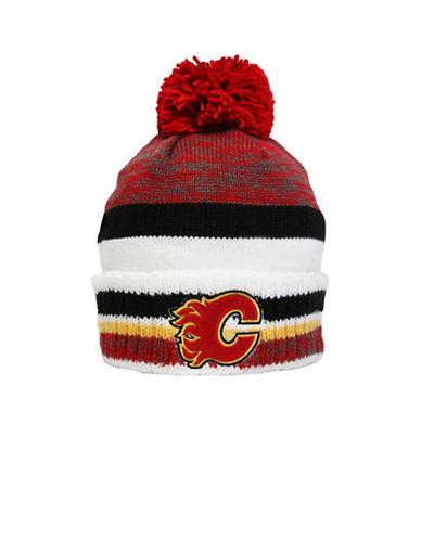 Reebok Calgary Flames Centre Ice Team Pom-Pom Knit Tuque-RED-One Size