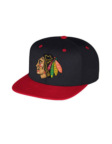 Reebok Chicago Blackhawks Multi-Tone Flat Brim Wool Snapback Cap-BLACK-One Size
