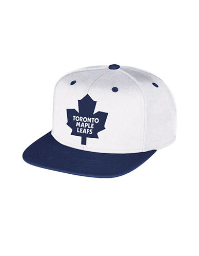 Reebok Toronto Maple Leafs Two-Tone Flat Brim Wool Snapback Cap-WHITE-One Size