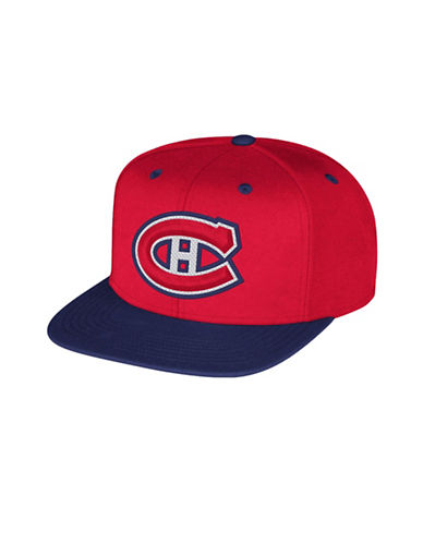 Reebok Montreal Canadiens Multi-Tone Flat Brim Wool Snapback Cap-RED-One Size