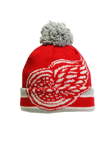 Reebok CCM Vintage Detroit Red Wings Cuffed Pom-Pom Tuque-RED-One Size
