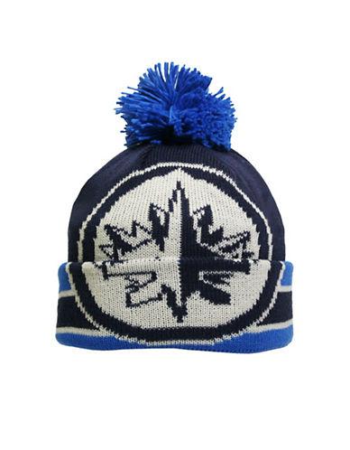 Reebok CCM Vintage Winnipeg Jets Cuffed Pom-Pom Tuque-BLUE-One Size