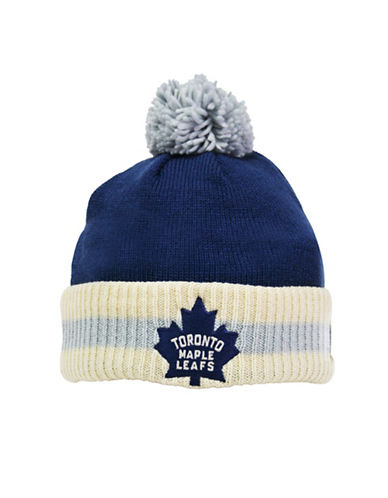 Reebok CCM Vintage Toronto Maple Leafs Stripe Cuffed Pom-Pom Tuque-DARK BLUE-One Size