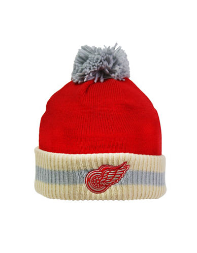 Reebok CCM Vintage Detroit Red Wings Stripe Cuffed Pom-Pom Tuque-RED-One Size