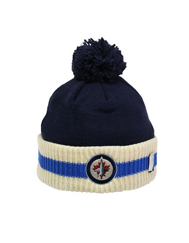 Reebok Winnipeg Jets CCM Stripe Cuffed Pom Knit Toque-TRUE NAVY-One Size