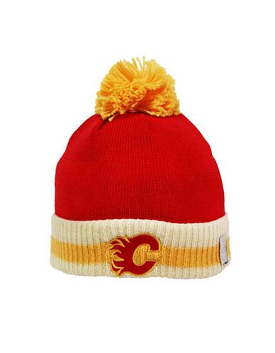 Reebok CCM Vintage Calgary Flames Stripe Cuffed Pom-Pom Tuque-RED-One Size