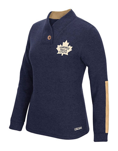 Reebok Toronto Maple Leafs Shawl Collar Pullover-TRUE NAVY-XX-Large