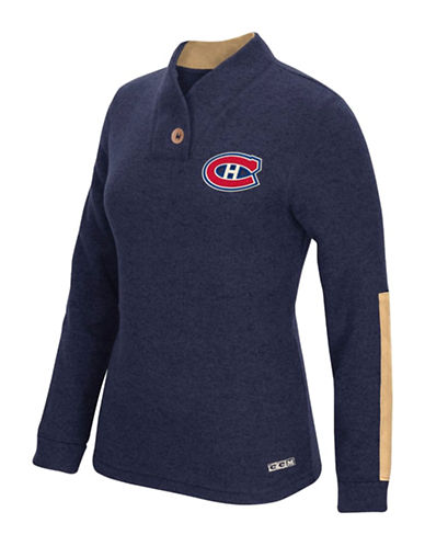 Reebok Montreal Canadiens Shawl Collar Pullover-TRUE NAVY-Small