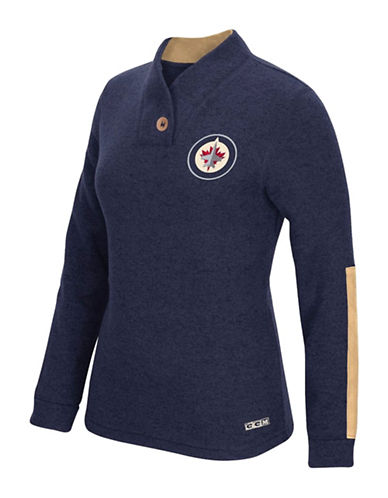 Reebok Winnipeg Jets Shawl Collar Pullover-TRUE NAVY-X-Large