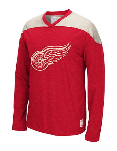 Reebok Detroit Red Wings CCM Applique Crew Top-RED-Large