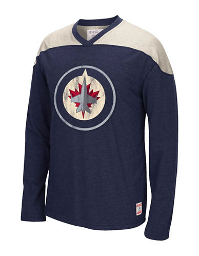Reebok Winnipeg Jets CCM Applique Crew Top-TRUE NAVY-Small