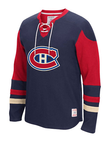 Reebok Montreal Canadiens CCM Lace Up Jersey-TRUE NAVY-X-Large