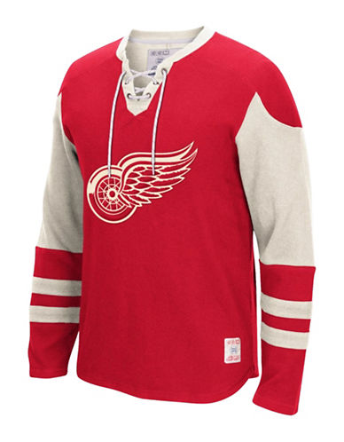 Reebok Detroit Red Wings CCM Lace Up Jersey-RED-XX-Large