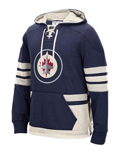 Reebok Winnipeg Jets CCM Pullover Hoodie-TRUE NAVY-X-Large
