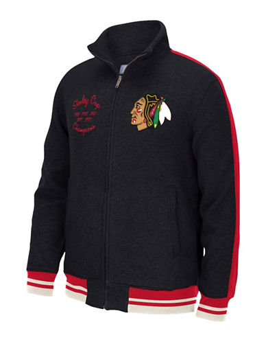 Reebok Chicago Blackhawks CCM Fleece Jacket-BLACK-Large