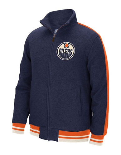 Reebok Edmonton Oilers CCM Fleece Jacket-DARK NAVY-Small